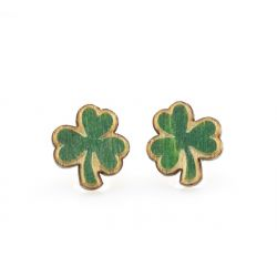 shamrock stud wood earrings