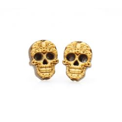 sugar skull stud wood earrings