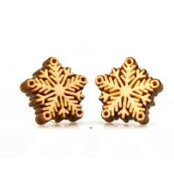 snowflake stud wood earrings