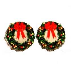 christmas wreath stud wood earrings