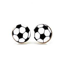 soccer ball stud wood earrings
