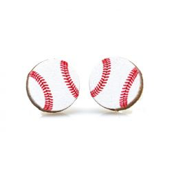 Baseball stud wood earrings