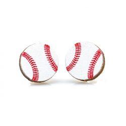 Baseball stud wood earrings