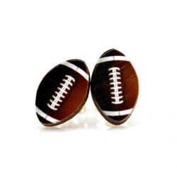 football stud wood earrings