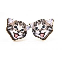 Playful kitten stud wood earrings