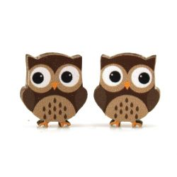 owl stud wood earrings
