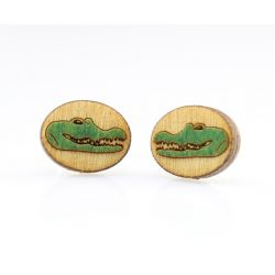 Gator stud wood earrings
