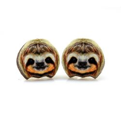 sloth stud wood earrings