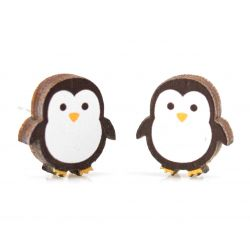 Penguin stud wood earrings