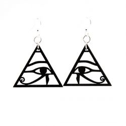 eye of horus wood earrings