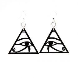 eye of horus wood earrings