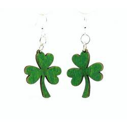 kelly green shamrock wood earrings