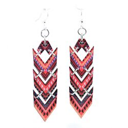 african chevron wood earrings