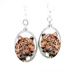 cheetah wood earrings