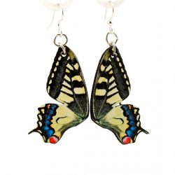 swallowtail butterfly wood earrings