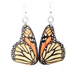 monarch butterfly wood earrings