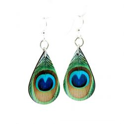 peacock feather wood earrings