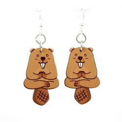 red panda wood earrings