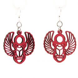 egyptian scarab wood earrings