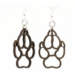 Brown Dog Paw wood earrings