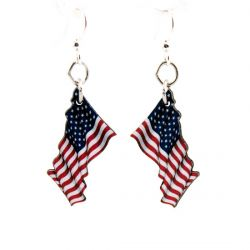 waving american flag wood earrings
