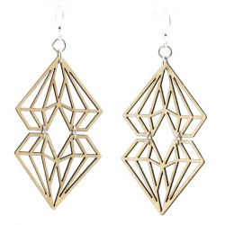dueling diamond wood earrings