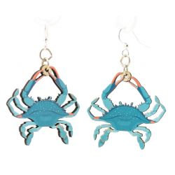 blue crab wood earrings