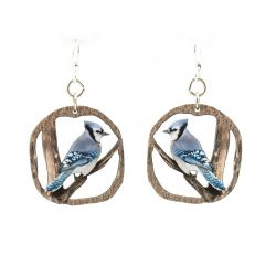 blue jay wood earrings