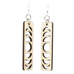 natural wood lunar eclipse earrings