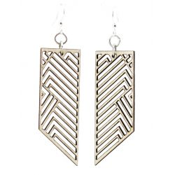 rectangular rhapsody wood earrings natural wood