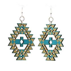 aqua marine navajo wood earrings