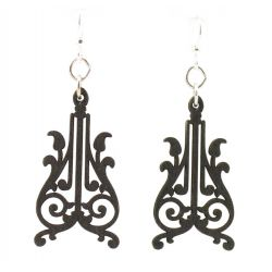 corbels black satin wood earrings