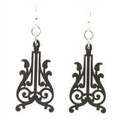 corbels black satin wood earrings
