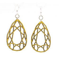 lemon yellow wood pear diamond cut earrings