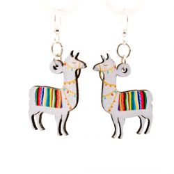 llama wood earrings