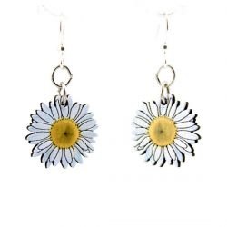 daisy blossom wood earrings