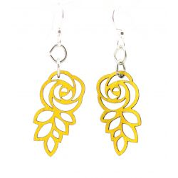 lemon yellow leafed blossom rose earrings
