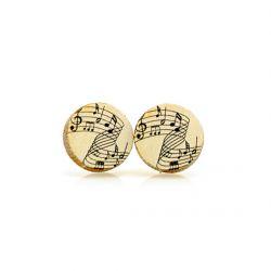 Piano key stud wood earrings