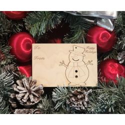 Snowman Holiday Ornament Card in Natural Wood