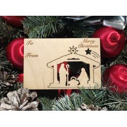 Nativity Holiday Ornament Card in Natural Wood