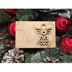 Angel Holiday Ornament Card in Natural Wood
