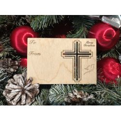 Christian Cross Holiday Ornament Card in Natural Wood
