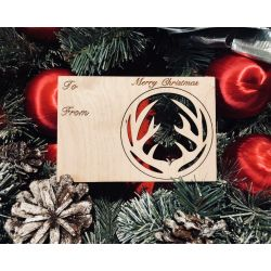 Antler Holiday Ornament Card in Natural Wood