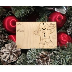 Gingerbread Man Holiday Ornament Card in Natural Wood
