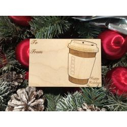 Coffee Cup Holiday Ornament Card in Natural Wood