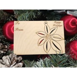 Poinsettia Holiday Ornament Card in Natural Wood