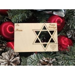 Star of David Holiday Ornament Card in Natural Wood