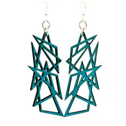 aqua marine modern angle wood earrings