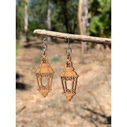 tan lantern wood earrings