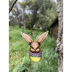 Easter Bunny wood necklace